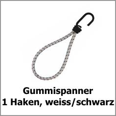 Gummispanner mit 1 Haken, ws/sw